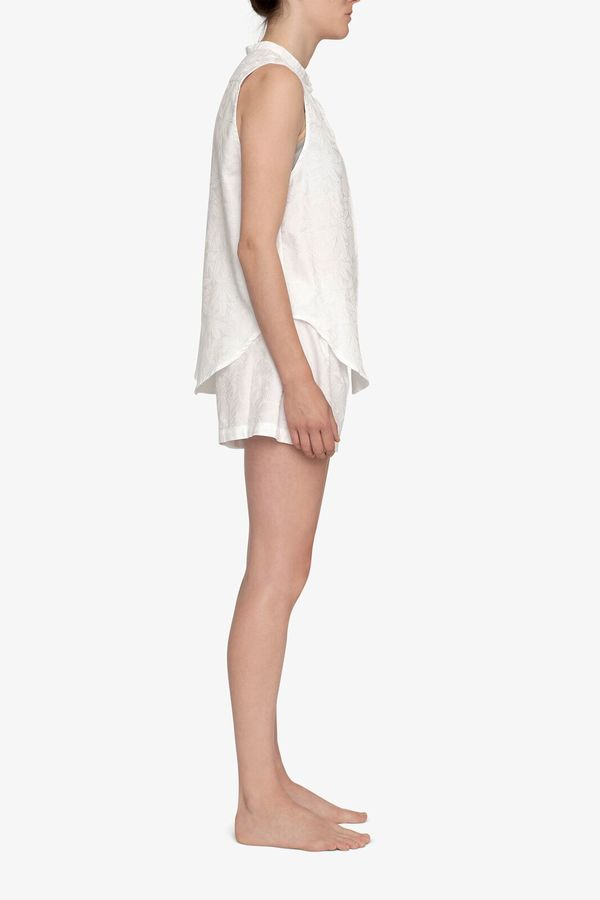 The Sleep Shirt Pleat Short White Palm Damask