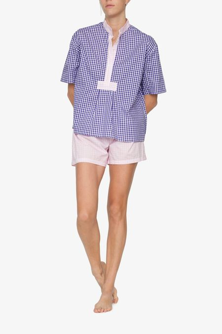The Sleep Shirt Short Sleeve Cropped Sleep Shirt Grape Gingham