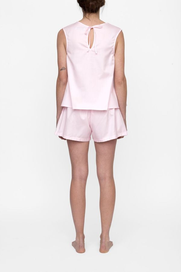 The Sleep Shirt Set  - Classic Top and Pleat Short Pink Royal Oxford