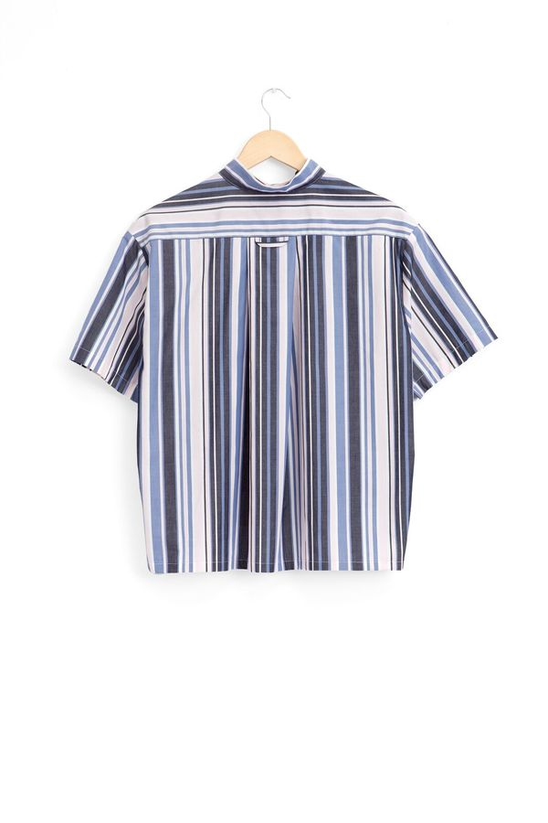 The Sleep Shirt Short Sleeve Cropped Sleep Shirt Blue and Pink Stripe