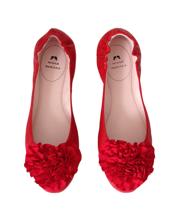 Minna Parikka - 'Camellia' Red Flower Ballet Pumps