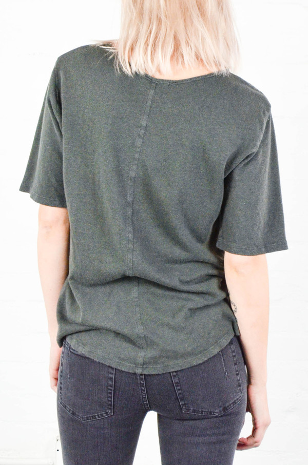 Black Crane Charcoal Back Seam Short Sleeve Tee