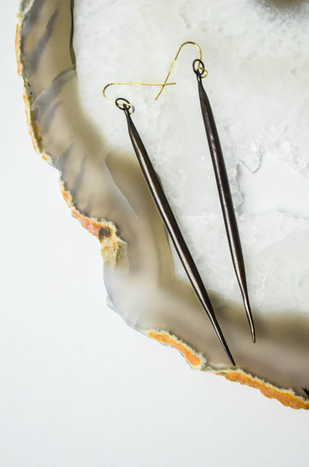 K/ller Blackened Brass Quill Earrings