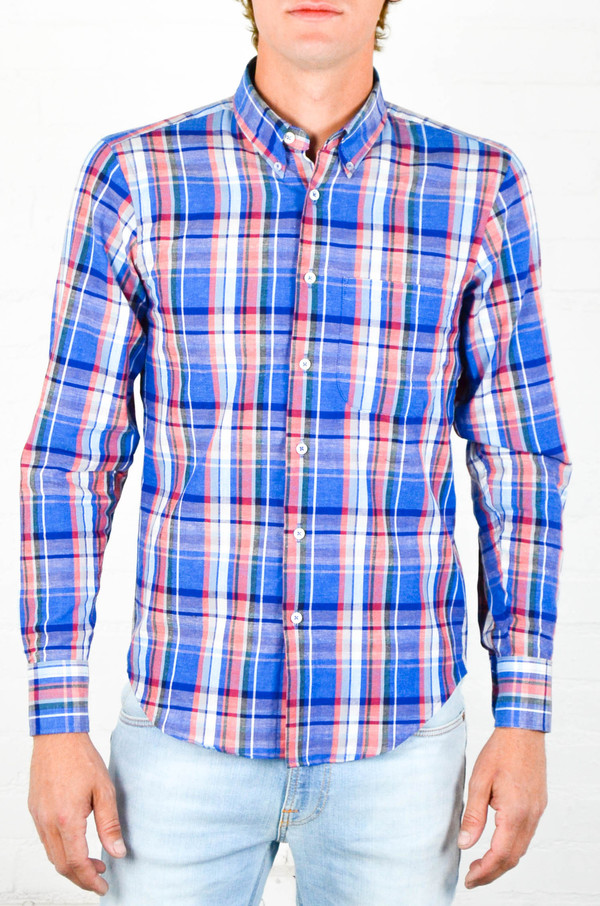 Men's Naked and Famous Airy Cotton and Linen Blend Madras RegularShirt