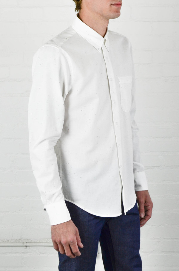 Men's Naked and Famous White Chambray With Multicolor Neps Regular Shirt