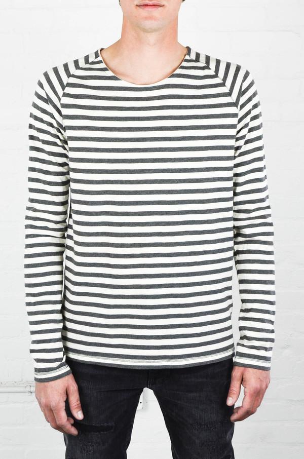 Men's Nudie Off White and Grey Bold Stripe Otto Raglan