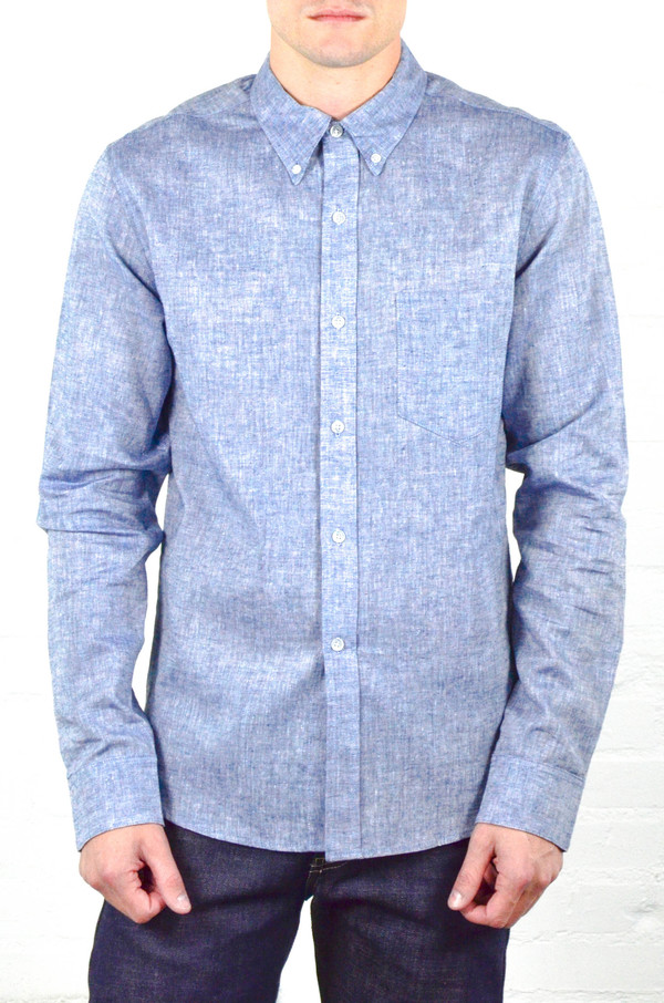 Men's Welcome Stranger Navy Chambray Long Sleeve Clean Seam Shirt