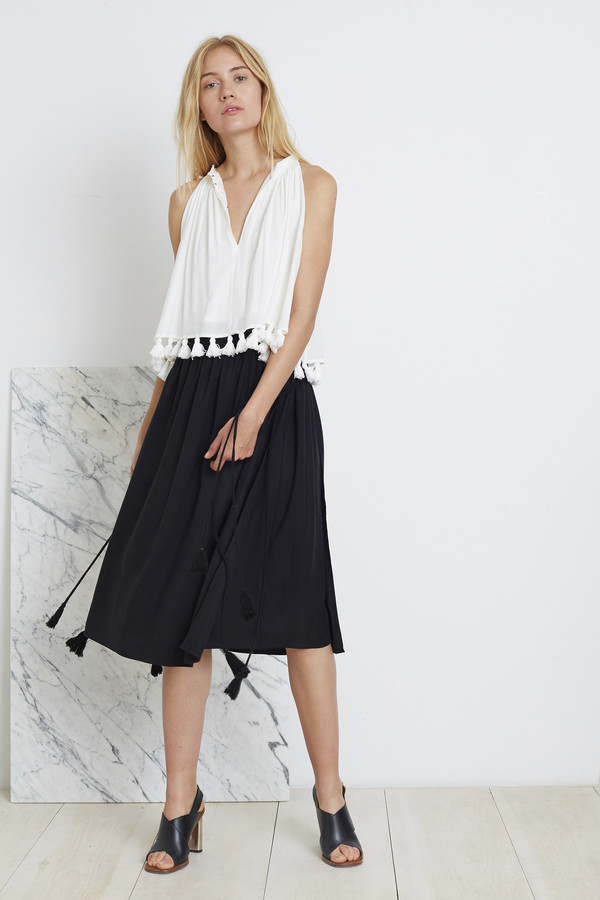 Apiece Apart Black Assisi Tea-Length Wabi Skirt