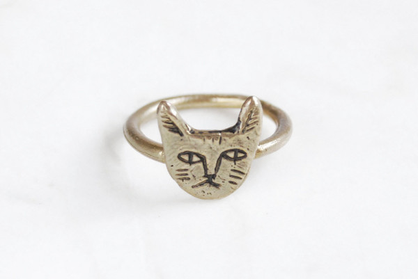 Datter Industries Brass Tiny Cat Face Ring