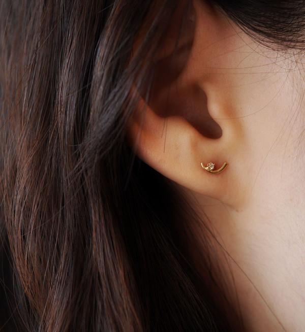 WWAKE White Diamond Arc Lineage Earrings