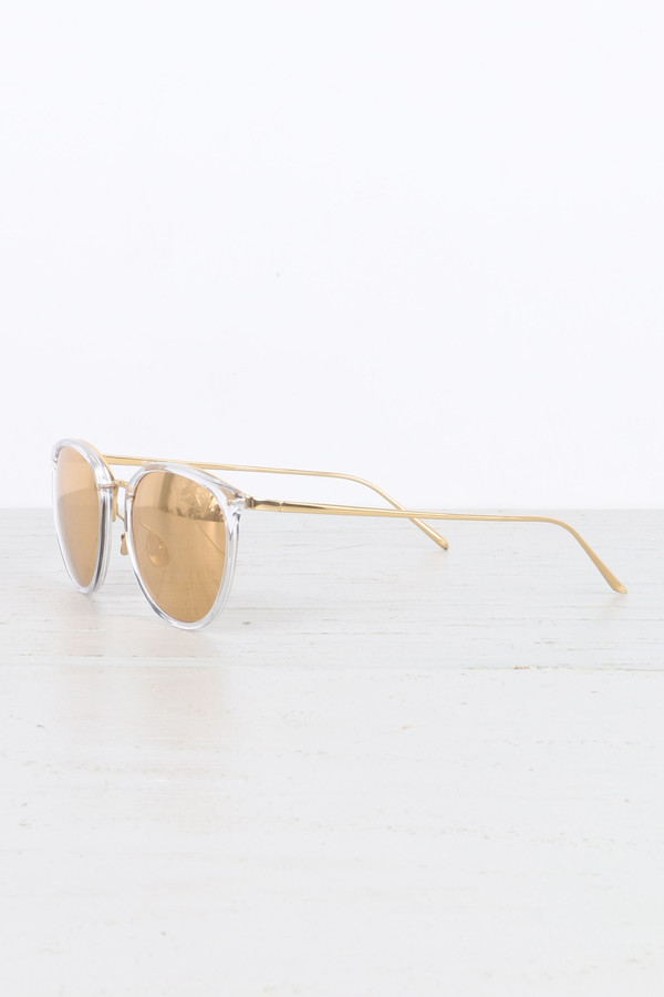 Linda Farrow Oval Sunglasses in Clear
