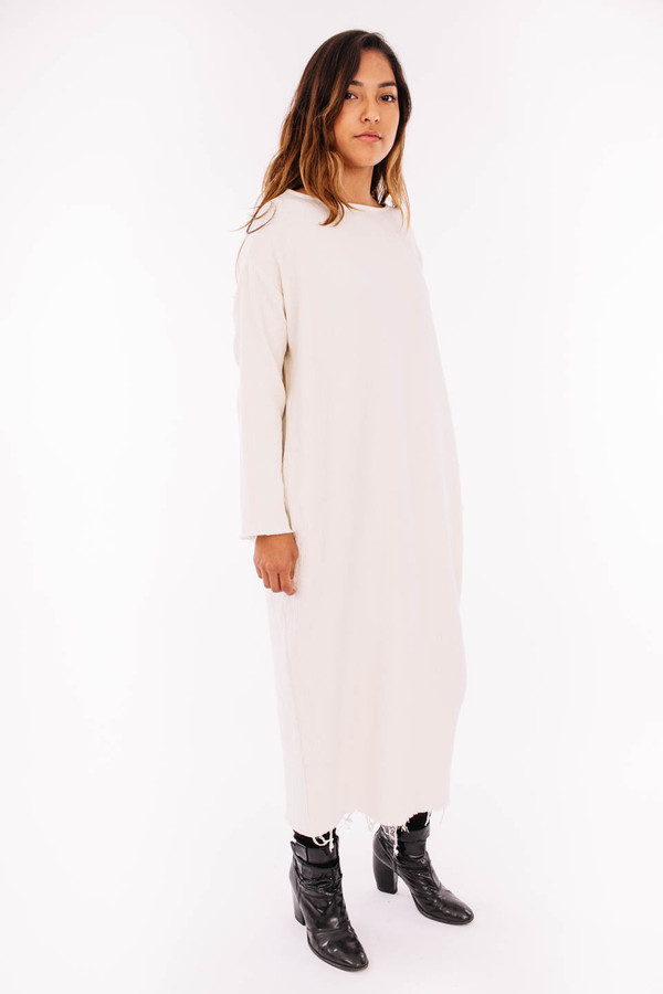 Black Crane Quilted Long Dress (Cream)
