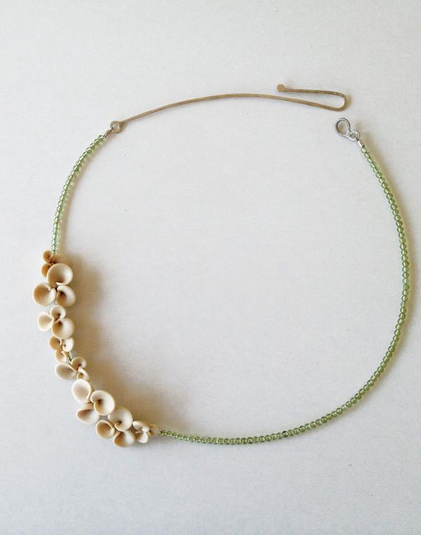 Green & White Hydrangea Flower Peridot Necklace
