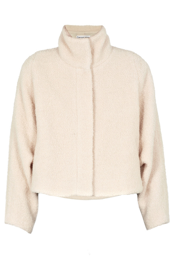 Apiece Apart Juliana Cropped Cream Blanket Coat