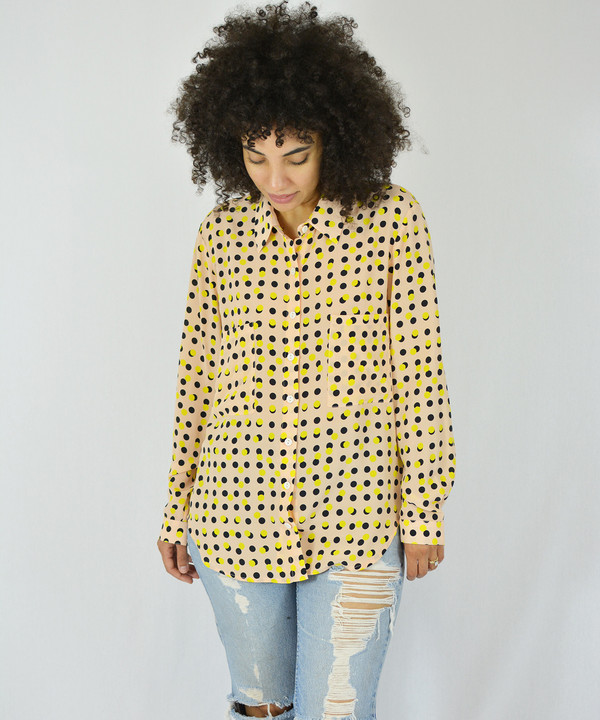 Dusen Dusen Peach Double Dot Collared Shirt