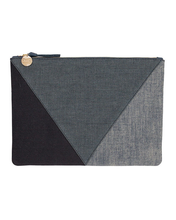 Clare V. Denim Patchwork Flat Clutch