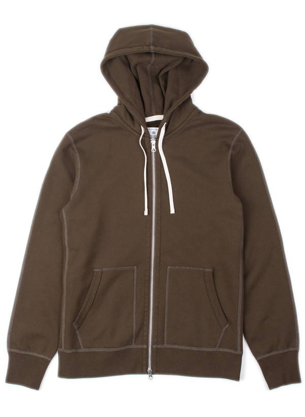 Reigning Champ Knit Mid Wt Terry Full Zip Hoodie Olive