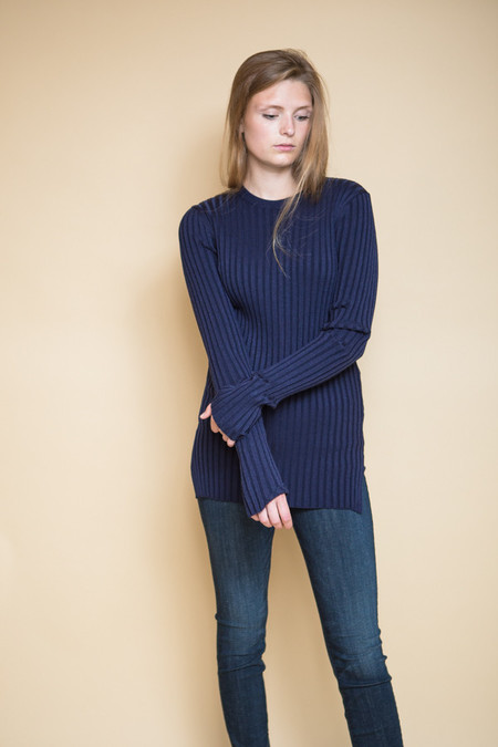 Achro Long Sleeve Ribbed Sweater - Navy