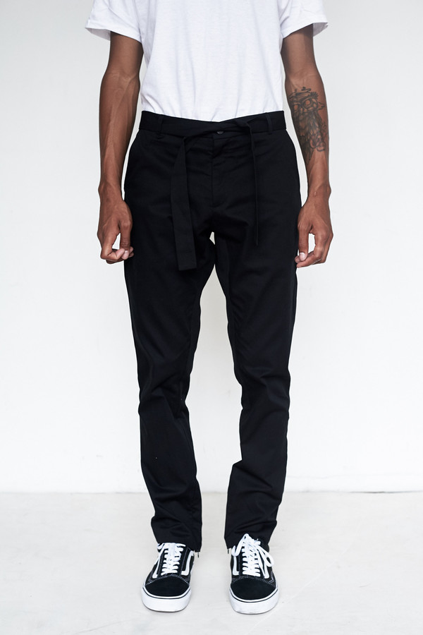 Men's Assembly New York Cotton Twill Kyoto Slim Flat Front Pant - Black