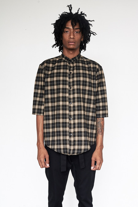 Men's Assembly New York Flannel Plaid Nehru Shirt