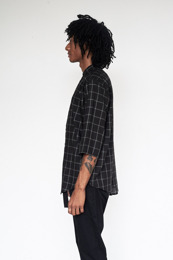 Men's Assembly New York Rayon Plaid Nehru Shirt