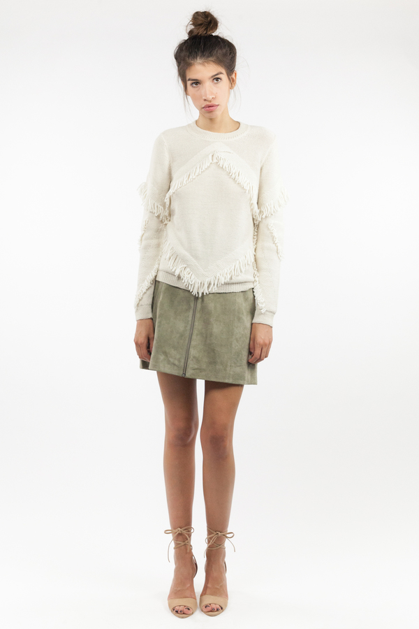 Tanya Taylor Inlay Fringe Cha Cha Sweater - Cream