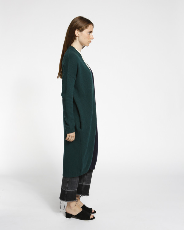 Achro Color Block Long Cardigan in Navy/Green