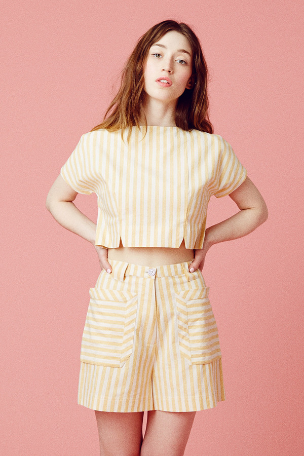 Samantha Pleet Perspective Shorts - Yellow Stripe