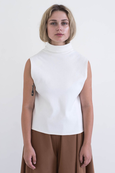 REIFhaus Aros Sweater in White Rib Knit