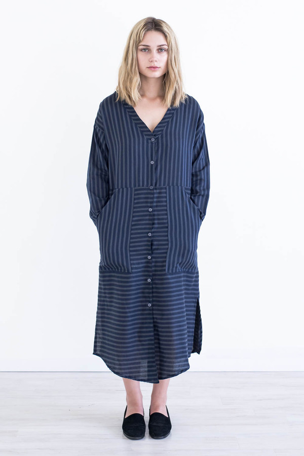 REIFhaus Big Shirt Dress in Navy Stripe