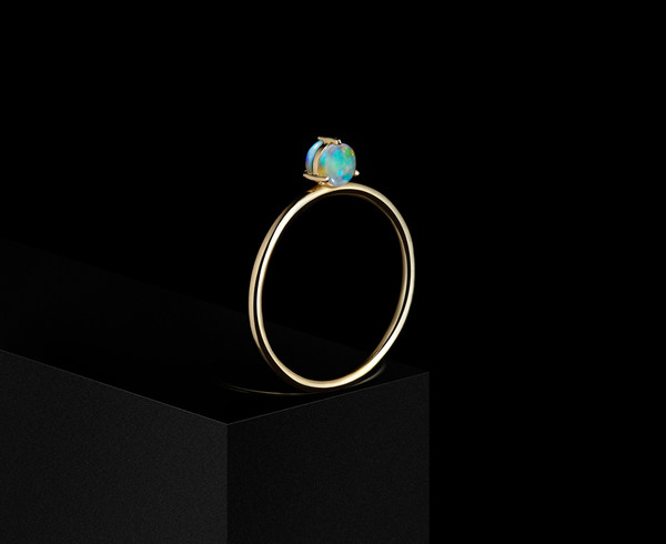 WWAKE Double-Sided Solitaire Ring w/ 4mm Opals
