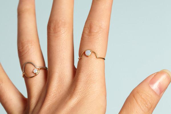 WWAKE Small Arc Opal Ring