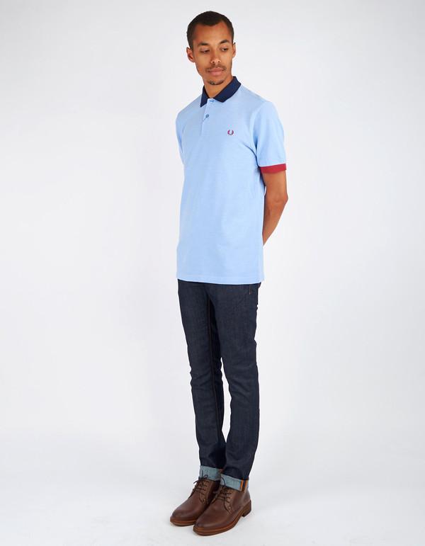 Men's Fred Perry Colour Block Pique Shirt Light Smoke Oxford