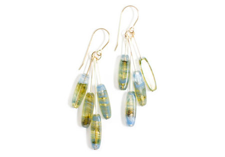 I. RONNI KAPPOS TRANSLUCENT BLUE ELLIPSE CLUSTER EARRINGS