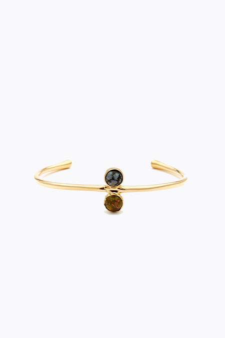 Odette New York Double astra cuff in brass, snowflake obsidian & unakite