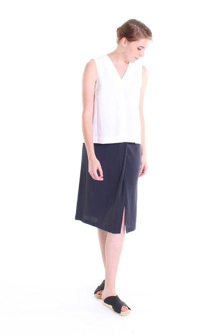 Evam Eva Double cloth wrap skirt in north sea