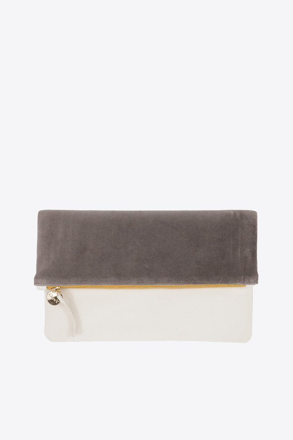 Clare V. Foldover clutch in dove & cream