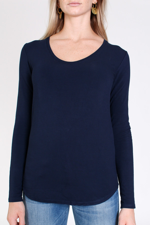 Majestic French terry scoop neck top in marine