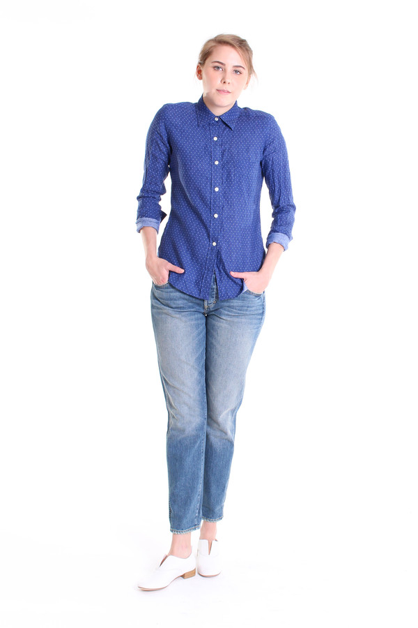 Vert & Vogue Long sleeve button down shirt in blue dot print