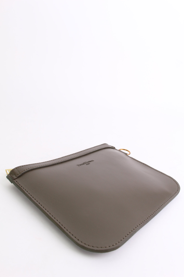 French Trotters Scott leather zipper pouch in bronze