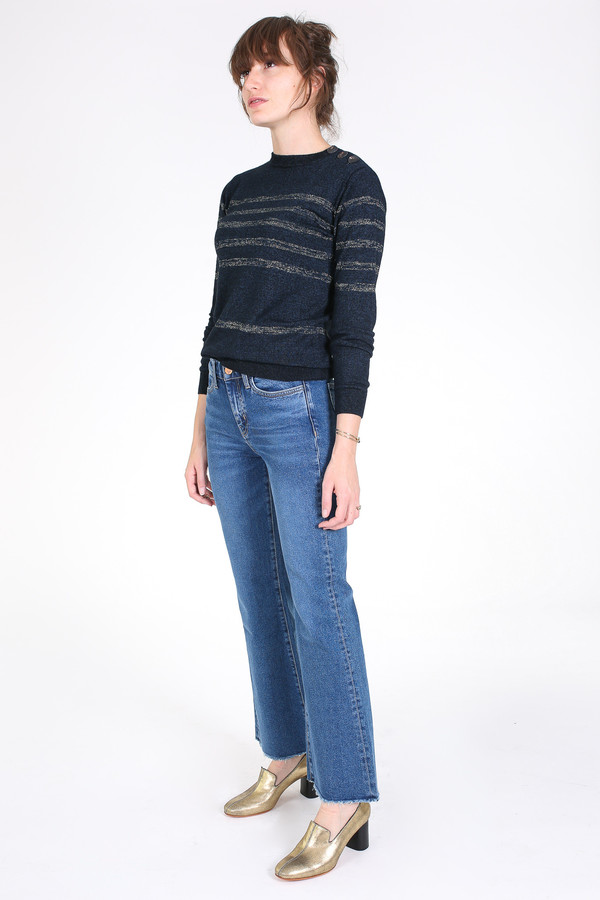 M.i.h Jeans Sophia breton sweater in indigo/gold