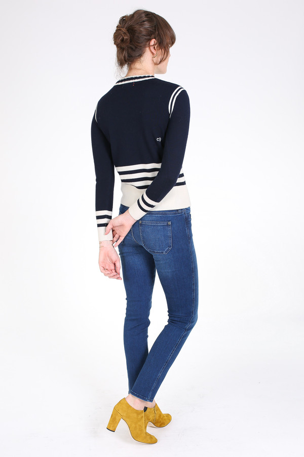 Chinti and Parker Sporty stripe sweater in navy