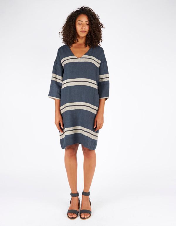 Assembly Label Cape Knit Poncho Dress Navy Stripe