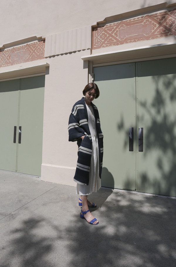 Horses Atelier Robe Coat in Wool Stripe