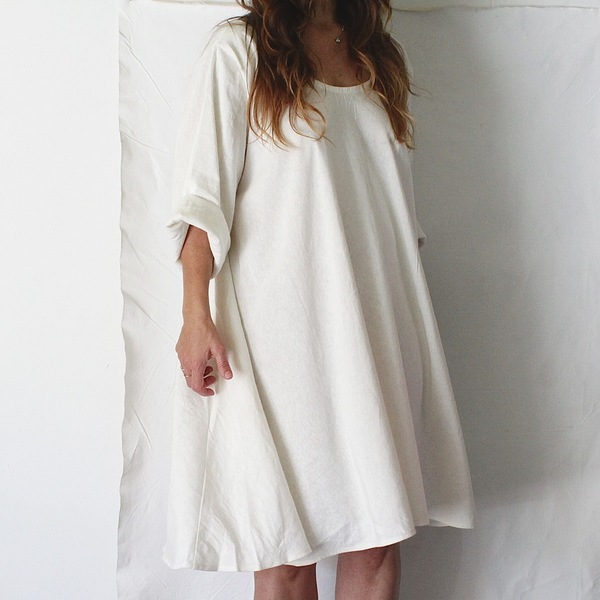 Hemp Silk Twirl Dress, Natural