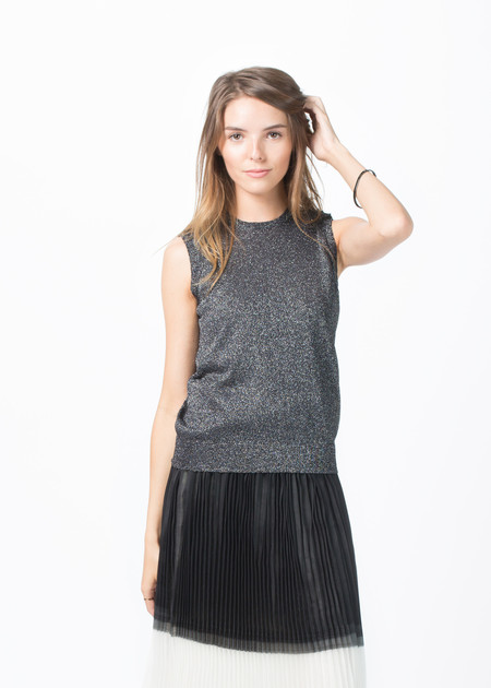 Sara Lanzi Knit Lurex Sleeveless Top