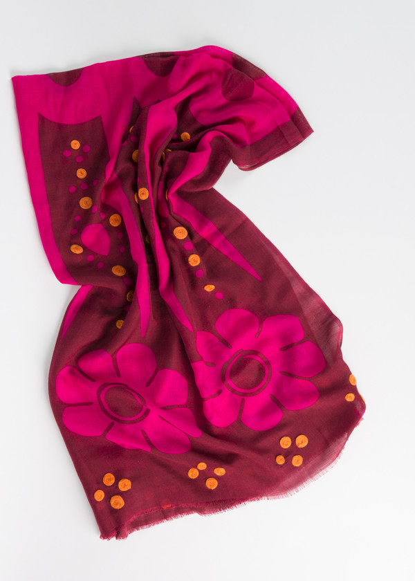 Odeeh Embroidered Flower Print Scarf