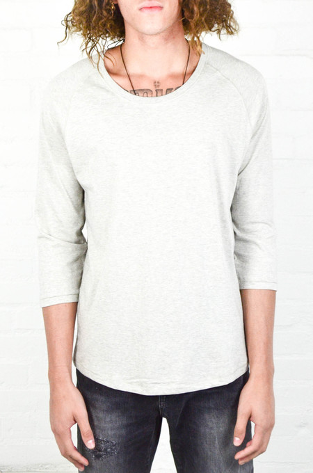 Men's Nudie Grey Melange Quarter Sleeve Tee
