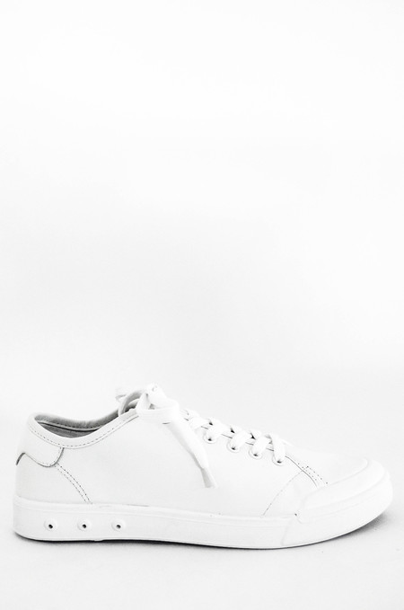 Men's Rag and Bone White Leather Standard Issue Lace Up Sneaker