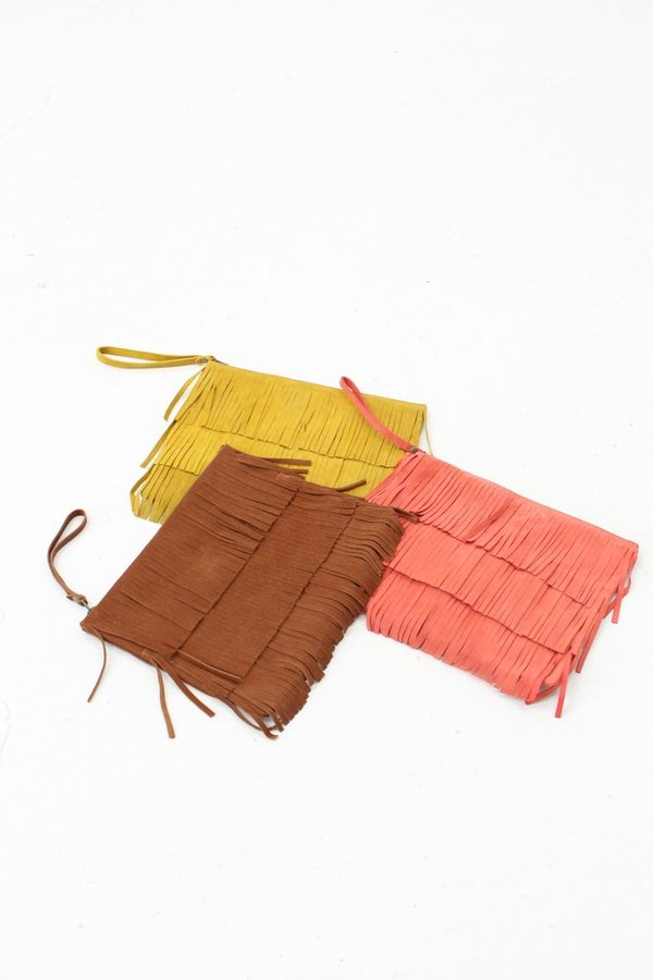 Laura Leather Fringe Clutch